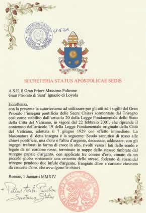 Gran Priorato di Sant´Ignazio di Loyola – autorizzazione papale della Santa Sede del Vaticano